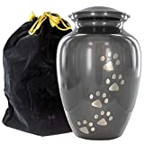 Gray Small Pet Urn for Dogs Ashes – A Loving Resting Place for Your Special Dog or Cat – for Small Pets up to 17 Pounds