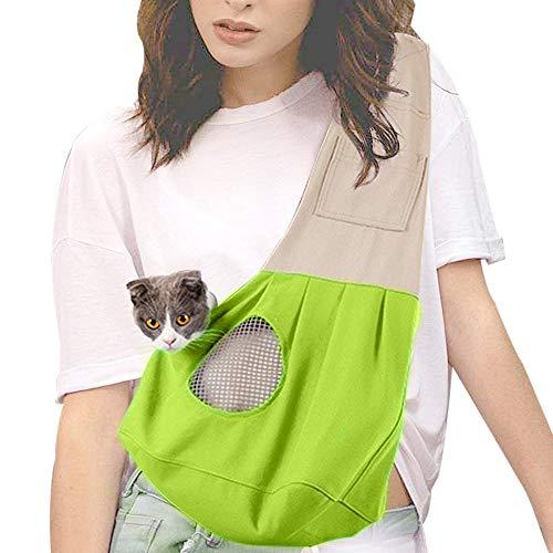 Supet Tragetuch Hunde Tragetücher Katze Verstellbare Schultergurt Hundetrage mit Fronttasche Schleuderträger Single Schulter Hundetragebeutel Outdoor