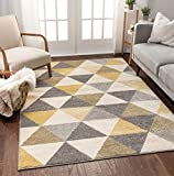 Well Woven Isometry Gold & Grey Modern Geometric Triangle Pattern 5' x 7' Area Rug Soft Shed Free Easy to Clean Stain Resistant