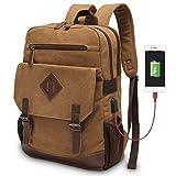 Vintage Backpack for Men, Modoker Canvas Leather Laptop School Backpack College Bookbag with USB Charging Port, Multipurpose Travel Vegan Rucksack Daypack Computer Bag Fits 15.6 inch Black