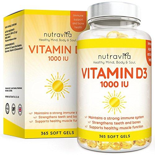 Vitamina D3 1000 IU - 365 Gel Capsula - Fornitura Per Un Anno - Integratore In Pillole Di Vitamina D Colecalciferolo Mantiene Normale Ossa, Denti, e Articolazioni Muscoli - Prodotto Da Nutravita