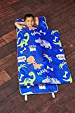 Everyday Kids Toddler Nap Mat with Removable Pillow - Roarin' Dinos - Carry Handle with Straps...
