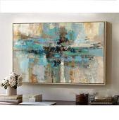 Pintura de buena calidad, a mano, de estilo abstracto y contemporáneo, de color verde azulado y de tamaño grande., lona, Azul/verde, 32x48inch(80x120cm)