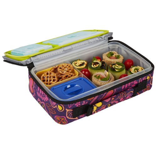 Fit & Fresh Insulated Bento Box Lunch Kit, Woodstock