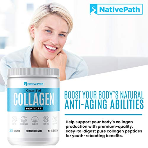 NativePath - Collagen Protein Powder - 8.82 Oz. - 25 Servings - From Premium Grass-Fed Bovine For Youthful Skin, Metabolism, Joint Health, More - Tasteless, Odorless - Keto-Friendly - Dairy-Free - Pal 6