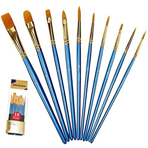 Paintbrush Set, 10 Pieces Round Pointed Tip Nylon Paint Brushes Set