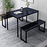Rhomtree 3 Pieces Dining Set Table with 2 Benches Kitchen Dining Room Furniture Modern Style Wood Table Top with Metal Frame (Black Wood)
