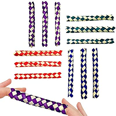 """Chinese finger traps are all individually wrapped. Each measures 5"""" Colors are purple, red, green, and blue Great for party favors! Fun novelty or gag gift!"""
