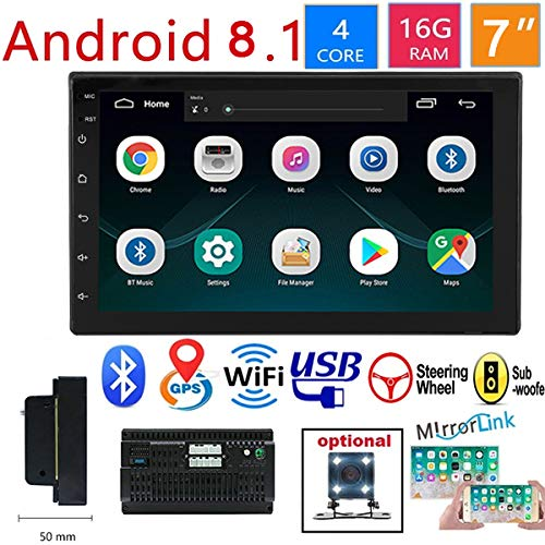 WZTO Double Din Car GPS Navigation Stereo, 7 inch Quad-Core Android 8.1 Touch Screen in Dash Navigation Car Radio Video Player with Bluetooth GPS WiFi Mirror Link Multimedia(1G RAM+16G ROM)