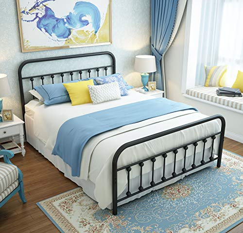 URODECOR Queen Platform Metal Bed Frame with Headboard and Footboard,Vintage Victorian Style Mattress Foundation, No Box Spring Required, Under Bed Storage, Black.