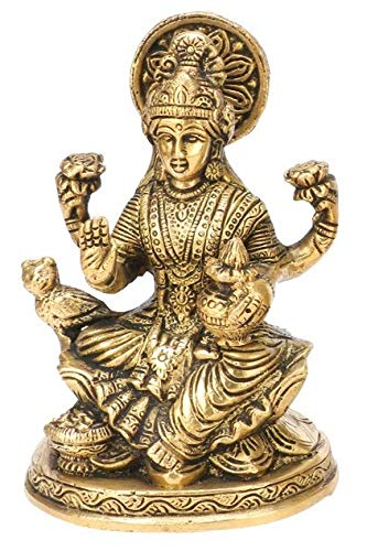 Kartique Laxmi Murti Brass Lakshmi Idol Laxmi Goddess Lakshmi Sitting Statue in Blessing Postures for Home Puja Mandir Temple Gold Color Height 5 Inch : Amazon.in: घर और किचन