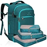 Hynes Eagle Travel Backpack 40L Flight Approved Carry on Backpack, Teal with Teal 3PCS Packing Cubes 2018