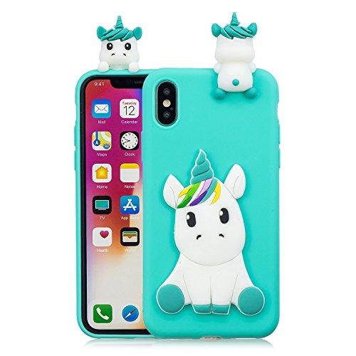 HopMore Compatible con Funda iPhone X/iPhone XS Silicona Dibujo 3D Divertidas TPU Gel Kawaii Ultrafina Slim Case Antigolpes Caso Protección Design Carcasas Gracioso para iPhone X - Unicornio Verde