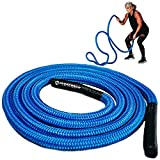 Hyperwear Hyper Rope Battle Rope, Patent Pending Flexible Metal Core Cardio Strength Rope, Full Home Gym Workout in only 6ft Space, No Anchor Needed (Blue, 15lb, 1.5in, 20ft)