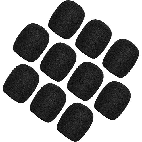 ChromLives Lapel Headset Microphone Windscreens Foam Covers Microphone Covers Mini Size Color Black 10 Pack