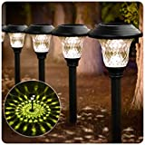 BEAU JARDIN 8 Pack Solar Pathway Lights Supper Bright UP to 12 Hrs Outdoor Garden Stake Glass Stainless Steel IP65 Waterproof Auto On/Off Powered Landscape Lighting for Yard Patio Walkway Black