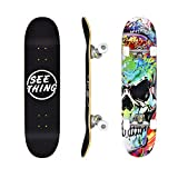 seething 31' Standard Skateboards for Beginners, 7 Layer Canadian Maple Double Kick Concave Standard...