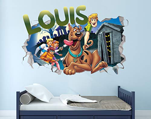 Scooby Doo Custom Name 3D Personalized Wall Decal Sticker - Kids Wall Decor - Art Vinyl Wall Decal - MA297 (Medium (Wide 30