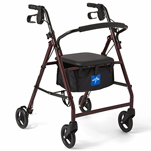 Medline Rollator Walker with Seat, Steel Rolling Walker with 6-inch Wheels Supports up to 350 lbs, Medical Walker, Burgundy