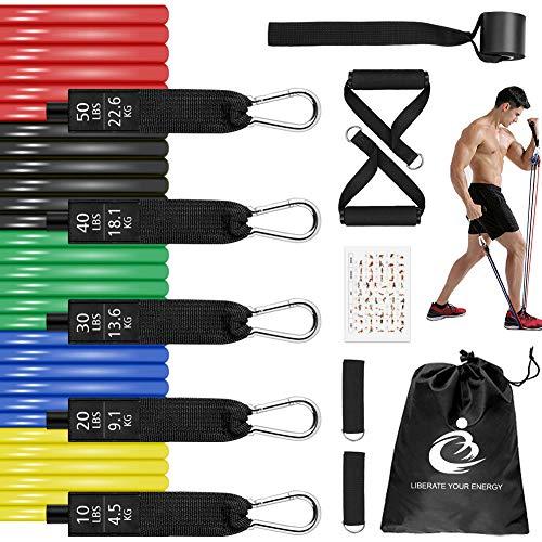 Set di Fasce di Resistenza, 150 lbs Bande Elastiche Fitness, Cintura Elastica, 5 Bande di Resistenza, Kit Allenamento Casa per Yoga, Pilates, Fisioterapia, Uomini e Donne Generale