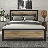 SHA CERLIN Queen Bed Frame with Modern Wooden Headboard / Heavy Duty Platform Metal Bed Frame with Square Frame Footboard & 12 Strong Steel Slat Support / No Box Spring Needed,Brown