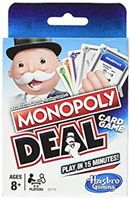 The fun of a Monopoly game played with cards Get a quick game in; it only takes about 15 minutes to play Use action cards to charge rent and make tricky deals Collect 3 property card sets to win