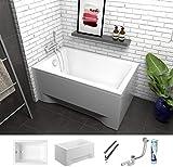 ECOLAM Petite baignoire rectangulaire acrylique Capri 120x70 cm + siphon automatique,...