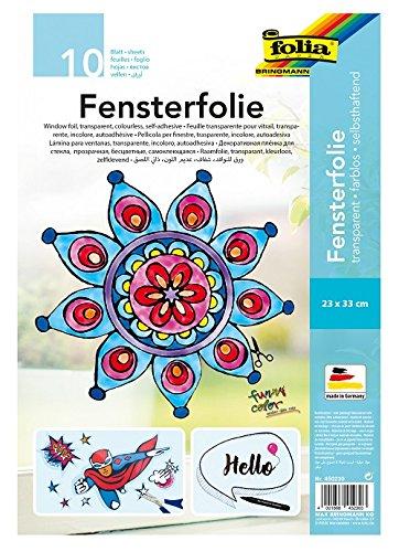 folia 450230 - Fensterfolie farblos, selbsthaftend, ca. 23 x 33 cm, 10 Bogen - ideal als Vorlagebogen für Fensterbilder, Window Color