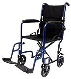 Karman Healthcare LT-2017-BK Folding Aluminum Transport Chair, Black, 17' Seat Width