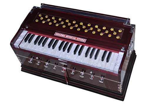 Sharma Musical Store Harmonium Seven Fold Bellow 42 Keys Bass Reed Linden Wood Harmonium