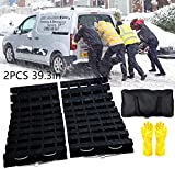 EVTIME Emergency Devices Tire TractionMats 39.3' (L) x 10.8' (W), Portablefor Snow, Ice, Mud, and SandUsed to Car, Truck, Van or Fleet Vehicle(2PCS 39in)