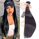 QTHAIR 10A Straight Human Hair Bundles(22',100g,Natural Black) 100% Unprocessed Indian Straight Virgin Human Hair Weaving Straight Virgin Hair Bundles