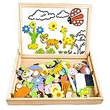 COOLJOY Puzzles Enfant en Bois Magnétique, Jigsaw avec Tableau...