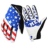 Bike MTB Gloves with for Off-Road Motorcycles - Mountain Climbing - Hiking and Other Outdoor Sports use, Male and Female Common. (White, M)