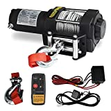 Hantun Electric Winch, 12V 4500lbs Single Line Waterproof Towing Winch for ATV UTV, with Roller Fairlead, Mount Plate and Wireless Handheld Remote