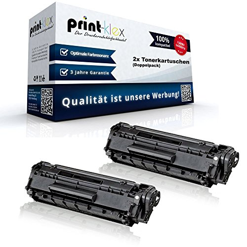 Print-Klex 2x Alternative Tonerkartuschen für HP LaserJet 1010 1012 1015 1018 1020 1022 1022N Q2612A HP12A HP 12A Black XXL - Color Edition Serie