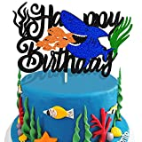 KAPOKKU Cute Shark Cake Topper Happy Birthday with Seaweed Ocean Theme Decorations Baby Shower Party Supplies