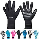 OMGear Neoprene Gloves Diving Wetsuit Gloves 3mm 5mm Glued Anti-Slip Flexible Thermal with Adjustable Waist Strap for Snorkeling Scuba Diving Surfing Kayaking Rafting Spearfishing Sailing (Black, L)