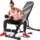 Merax Classic Foldable Utility Weight Bench Adjutable Sit Up AB Incline Bench Gym Equipment (Black&Silver)
