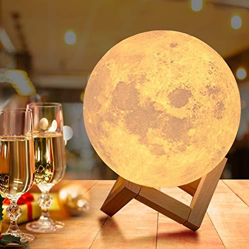 18cm Groß Mondlampe mit Fernbedienung,OxyLED Farbige Dekoleuchte 3D Mond Kunst LED RGB Mondlampe...