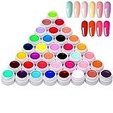 Anself Gel Couleur Ongle UV Art Pigment 36 couleurs, Vernis À Ongles de Nail Pigment Ensemble, Gel UV Polonais Solide 0.44oz*36
