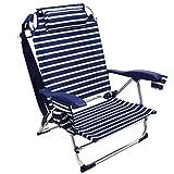 ARCOIRIS Chaise de Plage,Chaise Pliante pour Plage, Jardin, Camping (1 Unidad, Rayas Azul Oscuro y Blanco)