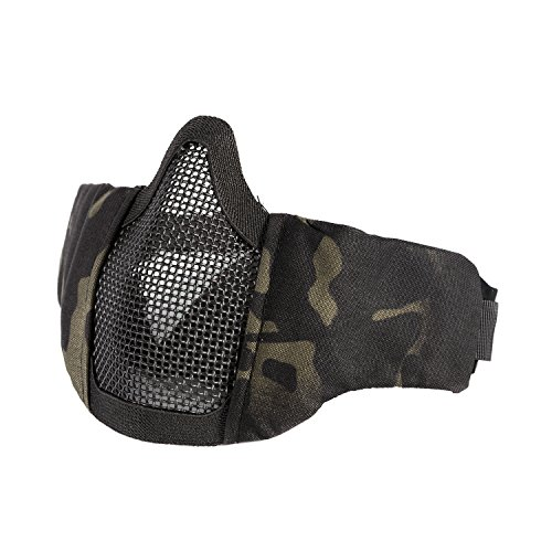 OneTigris Small Tactical Mask 4.5' Foldable Half Face Mask Protective Mesh Mask Fit for Women & Teenagers (Multicam Black)