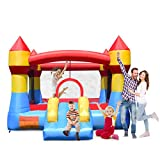 Costzon Inflatable Bounce House, Castle Jumper Slide Mesh Walls, Kids Party Jump Bouncer House w/Net, Carry Bag Without Blower (Castle Theme)