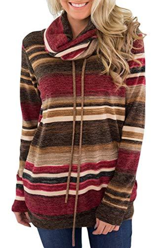 BLENCOT Blusa Donna Felpe Casual Collo Alto Maglione Elegante Invernale Top Felpe a Righe con Tasca Pullover con Cravatta Frontale, Rosso, M