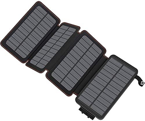 A ADDTOP Chargeur Solaire 25000mAh Haute Capacité Batterie Externe avec 2 Ports USB 4.2A Power Bank...
