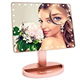 Large Lighted Vanity Makeup Mirror (X-Large Model), Funtouch Light Up Mirror with 35 LED Lights, Touch Screen and 10X Magnification Mirror, 360 Rotation Tabletop Cosmetic Mirror(Rose Gold)