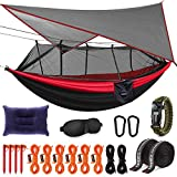 Kinfayv Camping Hammock with Mosquito Net And Rain Fly - Portable Double Hammock with Bug Net and Tent Tarp Heavy Duty Tree Strap, Hammock Tent for Travel Camping Backpacking Hiking Outdoor Activities
