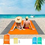 ISOPHO Beach Blanket, 79''×83'' Beach Blanket Waterproof Sandproof for 3-7 Adults, Oversized Lightweight Beach Mat, Portable Picnic Blankets, Sand Proof Mat for Travel, Camping, Hiking, Packable w/Bag