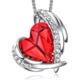 CDE Necklace for Women 18K White Gold Plated Embellished with Crystals from Swarovski Red Heart Shape Pendant Necklace Jewelry